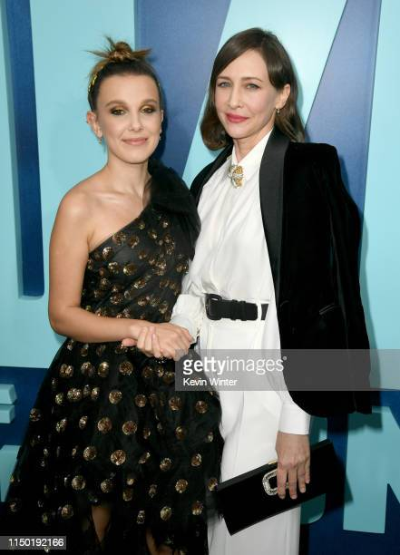 "Millie Bobby Brown and Vera Farmiga attend the premiere of Warner Bros. Pictures and Legendary Pictures' ""Godzilla: King Of The Monsters"" at TCL..."