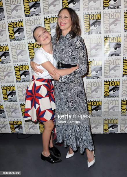 Millie Bobby Brown and Vera Farmiga attend the Warner Bros 'Godzilla King of the Monsters' theatrical panel during ComicCon International 2018 at San...