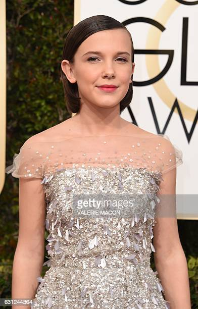 Millie Bobby Brown arrives at the 74th annual Golden Globe Awards January 8 at the Beverly Hilton Hotel in Beverly Hills California / AFP / VALERIE...