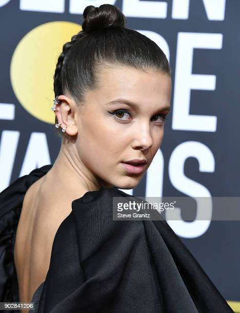 Millie Bobby Brown arrives at the 75th Annual Golden Globe Awards at The Beverly Hilton Hotel on January 7 2018 in Beverly Hills California