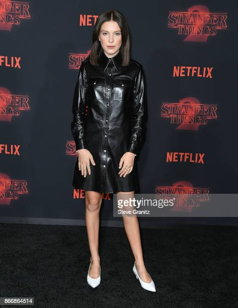 Millie Bobby Brown arrives at the Premiere Of Netflix's 'Stranger Things' Season 2 at Regency Bruin Theatre on October 26 2017 in Los Angeles...