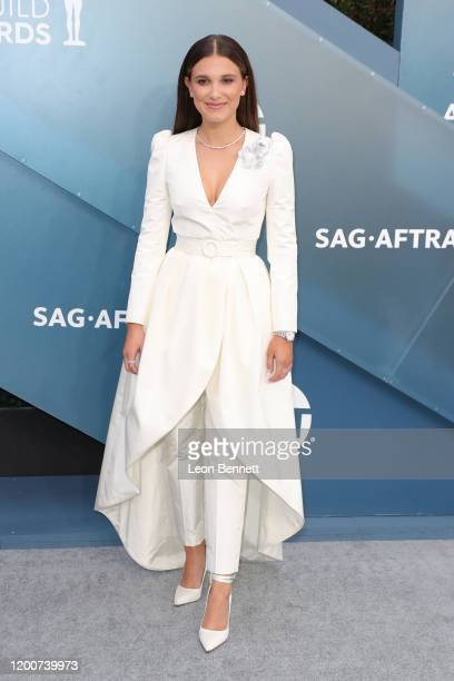 Millie Bobby Brown attends 26th Annual Screen Actors Guild Awards at The Shrine Auditorium on January 19, 2020 in Los Angeles, California.