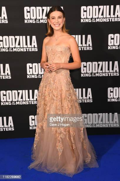 Millie Bobby Brown attends GODZILLA II King of the Monsters at Cineworld Leicester Square on May 28, 2019 in London, England.