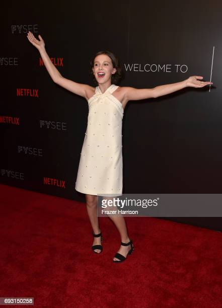 Millie Bobby Brown attends Netflix's 'Stranger Things' For Your Consideration event at Netflix FYSee Space on June 6 2017 in Beverly Hills California