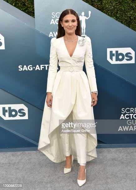 Millie Bobby Brown attends the 26th Annual Screen Actors Guild Awards at The Shrine Auditorium on January 19, 2020 in Los Angeles, California.
