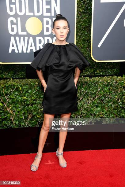 Millie Bobby Brown attends The 75th Annual Golden Globe Awards at The Beverly Hilton Hotel on January 7 2018 in Beverly Hills California