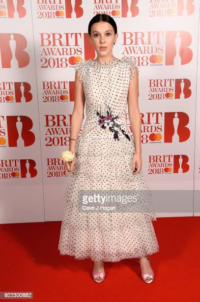 AWARDS 2018 *** Millie Bobby Brown attends The BRIT Awards 2018 held at The O2 Arena on February 21 2018 in London England