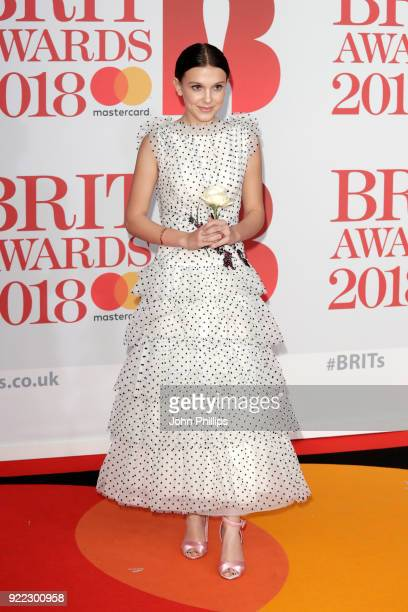 AWARDS 2018*** Millie Bobby Brown attends The BRIT Awards 2018 held at The O2 Arena on February 21 2018 in London England