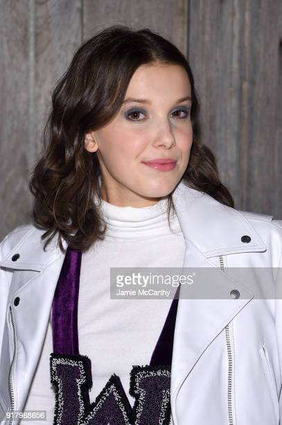 Millie Bobby Brown attends the Calvin Klein Collection during New York Fashion Week at New York Stock Exchange on February 13 2018 in New York City