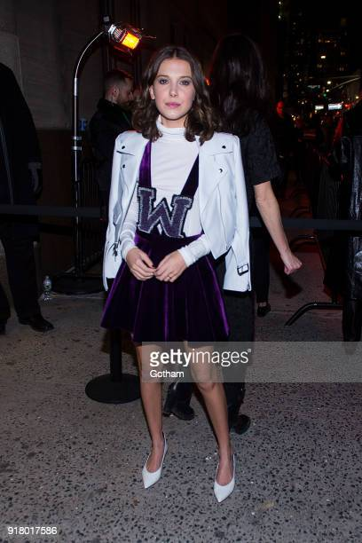 Millie Bobby Brown attends the Calvin Klein fashion show during New York Fashion Week at the American Stock Exchange Building on February 13 2018 in...