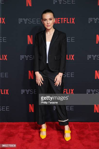 Millie Bobby Brown attends the #NETFLIXFYSEE For Your Consideration 'Stranger Things' Event at Netflix FYSEE At Raleigh Studios on May 19 2018 in Los...