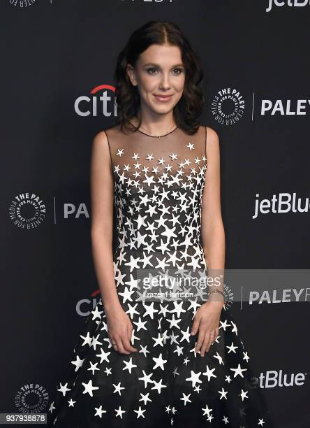Millie Bobby Brown attends The Paley Center for Media's 35th Annual PaleyFest Los Angeles 'Stranger Things' at Dolby Theatre on March 25 2018 in...