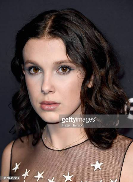 Millie Bobby Brown attends The Paley Center for Media's 35th Annual PaleyFest Los Angeles Stranger Things at Dolby Theatre on March 25 2018 in...