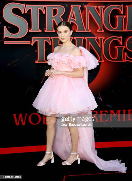 "Millie Bobby Brown attends the premiere of Netflix's ""Stranger Things"" Season 3 on June 28, 2019 in Santa Monica, California."