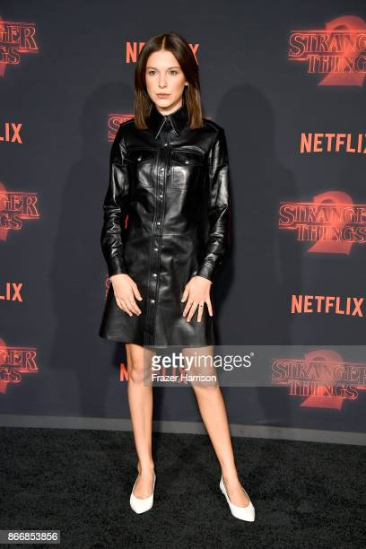 Millie Bobby Brown attends the premiere of Netflix's Stranger Things Season 2 at Regency Bruin Theatre on October 26 2017 in Los Angeles California
