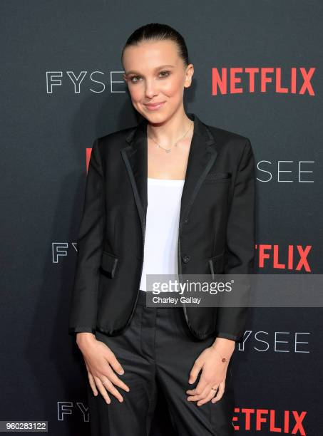 Millie Bobby Brown attends The Stranger Things 2 Panel At Netflix FYSEE on May 19 2018 in Los Angeles California