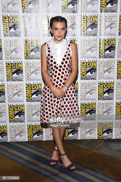Millie Bobby Brown attends the Stranger Things press conference at ComicCon International 2017 on July 22 2017 in San Diego California