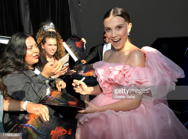Millie Bobby Brown attends the Stranger Things Season 3 World Premiere on June 28 2019 in Santa Monica California