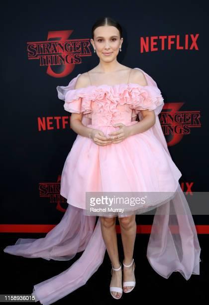 "Millie Bobby Brown attends the ""Stranger Things"" Season 3 World Premiere on June 28, 2019 in Santa Monica, California."