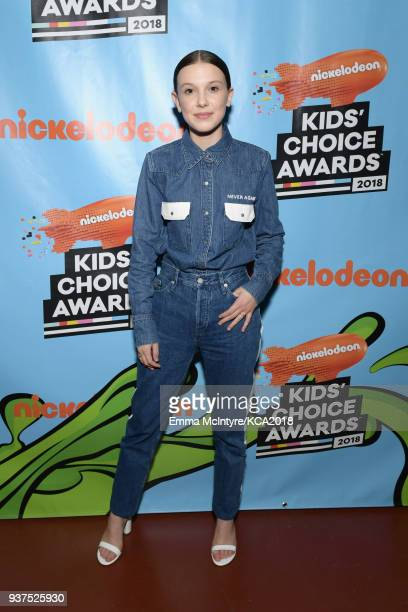 Millie Bobby Brown backstage at Nickelodeon's 2018 Kids' Choice Awards at The Forum on March 24 2018 in Inglewood California