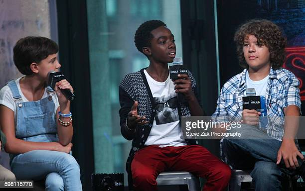 Millie Bobby Brown Caleb McLaughlin and Gaten Matarazzo attend Build series to discuss 'Stranger Things' at AOL HQ on August 31 2016 in New York City