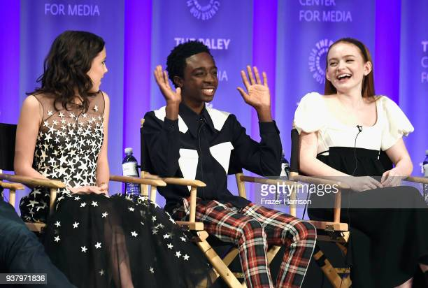 Millie Bobby Brown Caleb McLaughlin and Sadie Sink speak onstage at The Paley Center for Media's 35th Annual PaleyFest Los Angeles Stranger Things at...