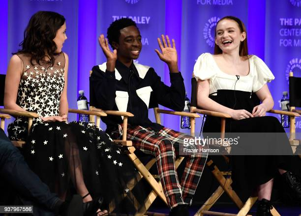 Millie Bobby Brown Caleb McLaughlin Sadie Sink onstage at The Paley Center For Media's 35th Annual PaleyFest Los Angeles 'Stranger Things' at Dolby...