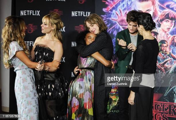 Millie Bobby Brown Cara Buono Priah Ferguson Maya Hawke Joe Keery and Carmen Cuba attend the New York Screening of Stranger Things Season 3 at DGA...