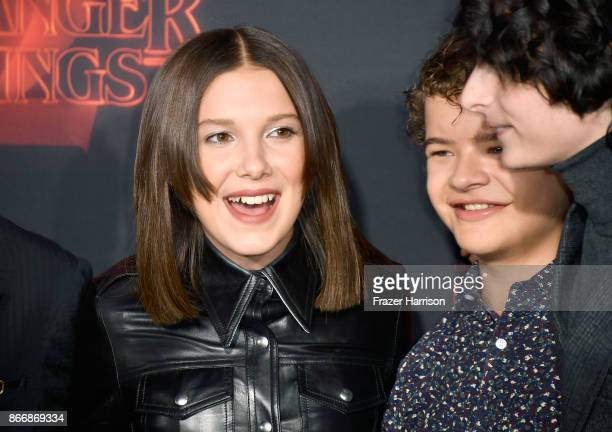 Millie Bobby Brown Gaten Matarazzo and Finn Wolfhard attend the premiere of Netflix's 'Stranger Things' Season 2 at Regency Bruin Theatre on October...