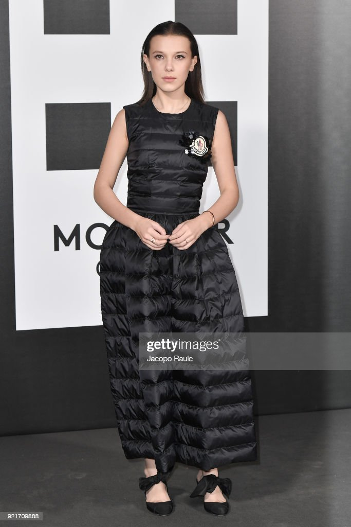 Millie Bobby Brown is seen at the Moncler Genius event during Milan Fashion Week Fall/Winter 2018/19 on February 20, 2018 in Milan, Italy.