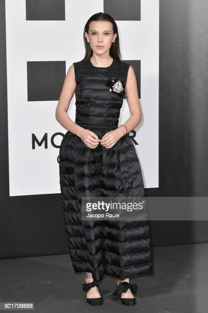 Millie Bobby Brown is seen at the Moncler Genius event during Milan Fashion Week Fall/Winter 2018/19 on February 20 2018 in Milan Italy