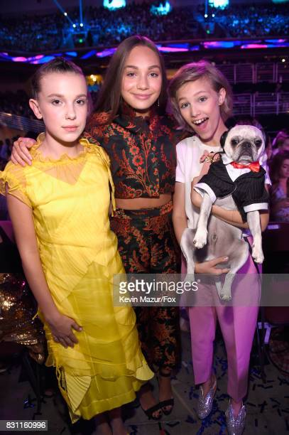 Millie Bobby Brown Maddie Ziegler and Grace VanderWaal attend Teen Choice Awards 2017 at Galen Center on August 13 2017 in Los Angeles California