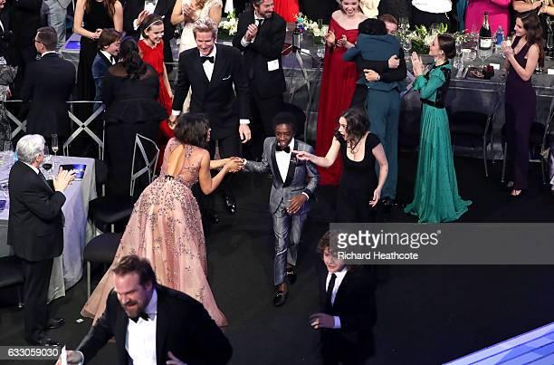 Millie Bobby Brown Matthew Modine Taraji P Henson Caleb McLaughlin Winona Ryder David Harbour and Gaten Matarazzo during The 23rd Annual Screen...