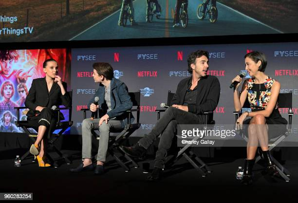 Millie Bobby Brown Noah Schnapp Director Shawn Levy and Casting Director Carmen Cuba speak onstage at The Stranger Things 2 Panel At Netflix FYSEE on...