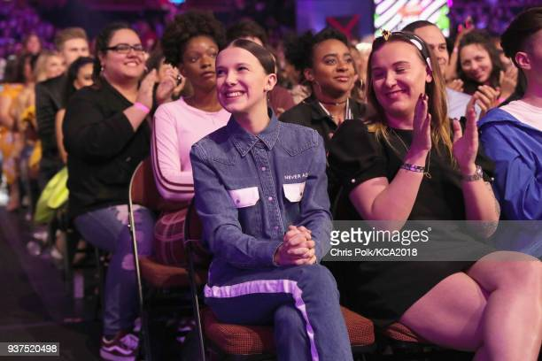 Millie Bobby Brown onstage at Nickelodeon's 2018 Kids' Choice Awards at The Forum on March 24 2018 in Inglewood California