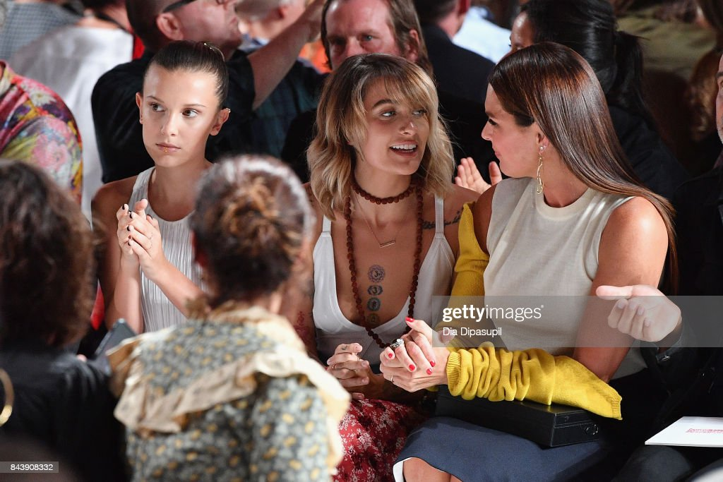 Millie Bobby Brown, Paris Jackson and Brooke Shields attend the Calvin Klein Collection fashion show during New York Fashion Week on September 7, 2017 in New York City.