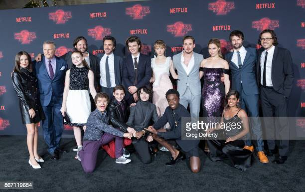 Millie Bobby Brown Paul Reiser Sadie Sink Matt Duffer Shawn Levy Joe Keery Natalia Dyer Dacre Montgomery Cara Buono Ross Duffer Guest and Gaten...