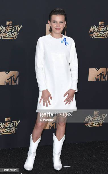 Millie Bobby Brown poses in the press room at the 2017 MTV Movie and TV Awards at the Shrine Auditorium on May 7 2017 in Los Angeles California