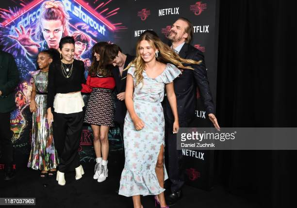 Millie Bobby Brown Priah Ferguson Carmen Cuba Natalia Dyer Charlie Heaton and David Harbour attend the New York Screening of Stranger Things Season 3...