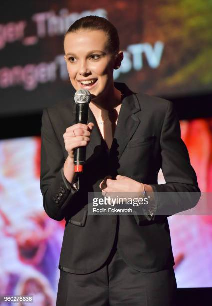 Millie Bobby Brown speaks on stage at #NETFLIXFYSEE event for 'Stranger Things' at Netflix FYSEE at Raleigh Studios on May 19 2018 in Los Angeles...