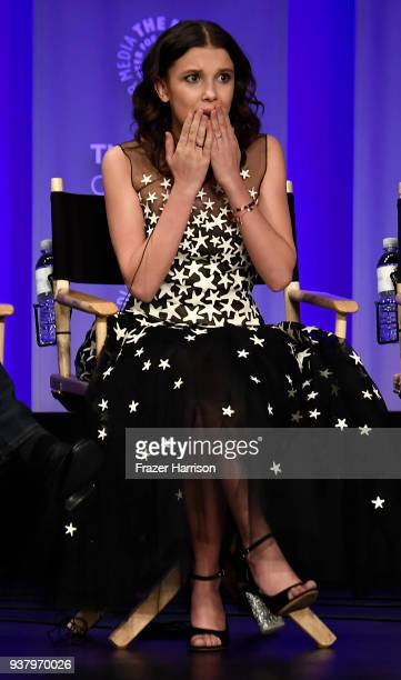 Millie Bobby Brown speaks on stage at The Paley Center For Media's 35th Annual PaleyFest Los Angeles Stranger Things at Dolby Theatre on March 25...