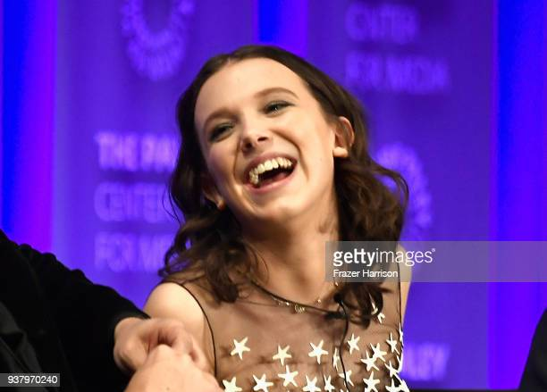 Millie Bobby Brown speaks onstage at The Paley Center for Media's 35th Annual PaleyFest Los Angeles 'Stranger Things' at Dolby Theatre on March 25...