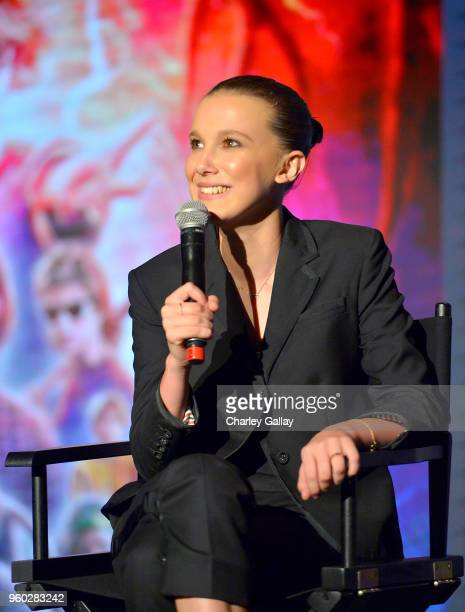 Millie Bobby Brown speaks onstage at The 'Stranger Things 2' Panel At Netflix FYSEE on May 19 2018 in Los Angeles California