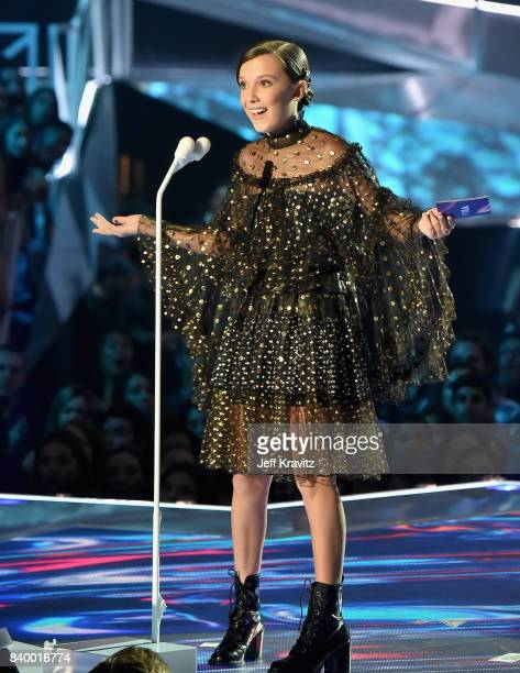 Millie Bobby Brown speaks onstage during the 2017 MTV Video Music Awards at The Forum on August 27, 2017 in Inglewood, California.