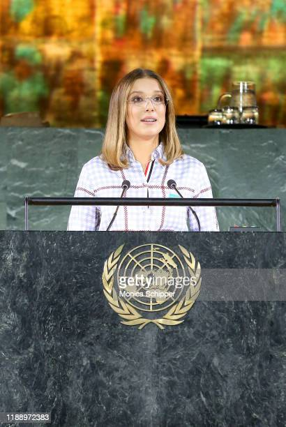 Millie Bobby Brown speaks onstage during UNICEF Goodwill Ambassadors David Beckham and Millie Bobby Brown Headline UN Summit To Demand Rights For...