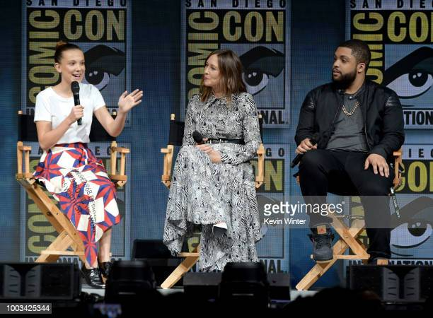 Millie Bobby Brown Vera Farmiga and O'Shea Jackson Jr speak onstage at the Warner Bros 'Godzilla King of the Monsters' theatrical panel during...