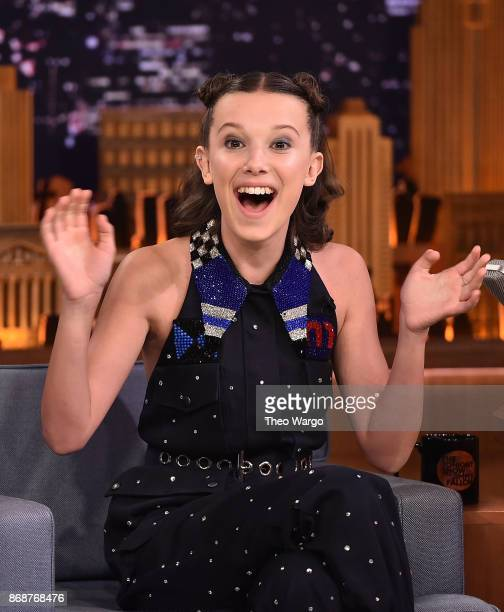 Millie Bobby Brown Visits The Tonight Show Starring Jimmy Fallon on October 31 2017 in New York City