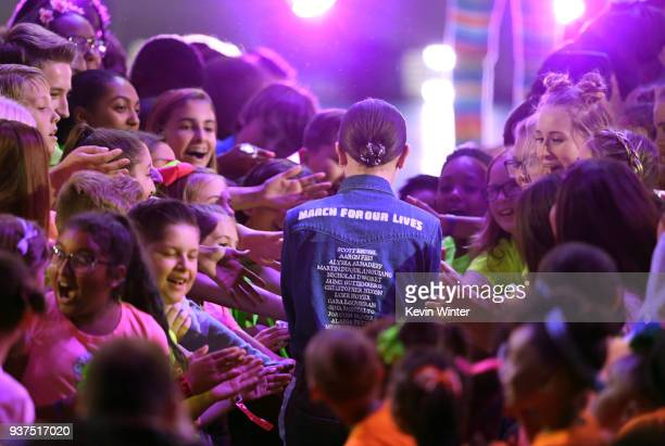 Millie Bobby Brown walks to stage at Nickelodeon's 2018 Kids' Choice Awards at The Forum on March 24 2018 in Inglewood California