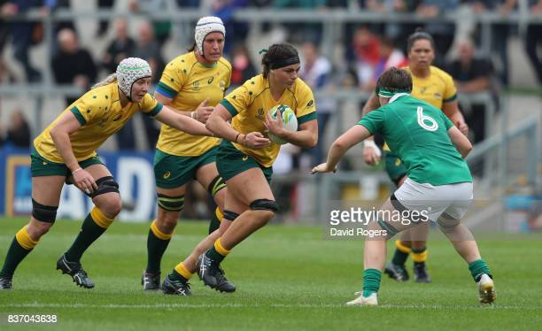 Millie Boyle of Australia charges upfield during the Women's Rugby World Cup 2017 match between Ireland and Australia at the Kingspan Stadium on...