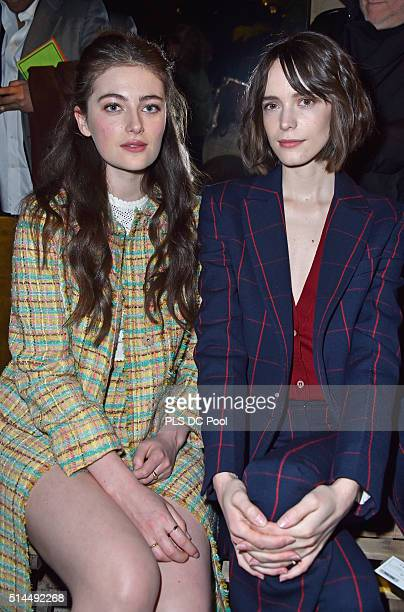 Millie Brady and Stacy Martin attend the Miu Miu show as part of the Paris Fashion Week Womenswear Fall / Winter 2016 on March 9 2016 in Paris France